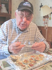little neck clams Dad eating clams casino3