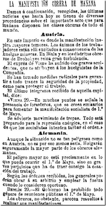1890-04-30 - La Iberia - 01 (Preparativos del 1º de Mayo - Austria y Alemania)