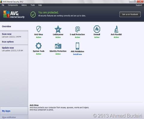 Tampilan utama AVG Internet Security 2012