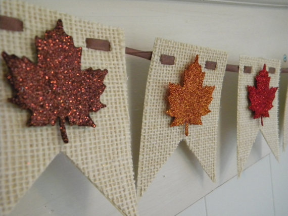 Glitter leaf banner
