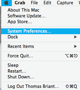The apple menu and the system preferences