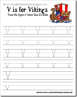 letter v tracing pages