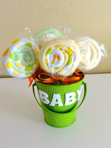 Baby Shower Gift Washcloths Lollipop