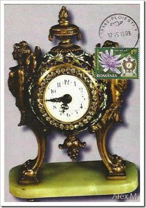 Ceas de masă, sec.XIX; Obl. SZ Ploieşti 17.05.2013 < Table clock, 19th century with Ploiesti stampmark 17.05.2013