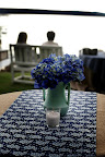 Clusters of hydrangeas decorated the tables.