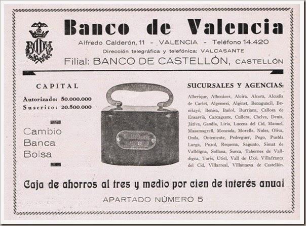 1933 Las huchas del Banco de Valencia.