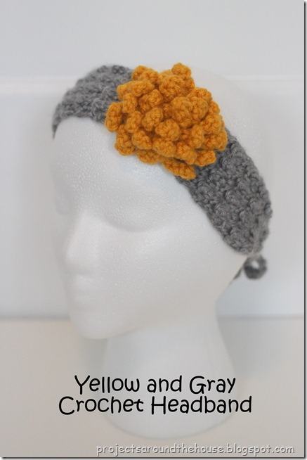 yellow and gray crochet headband earwarmer