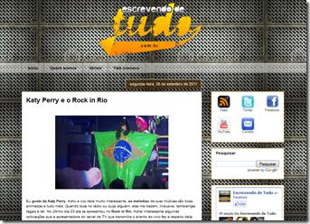 Screenshot do blog Escrevendo de Tudo (www.escrevendodetudo.com.br)