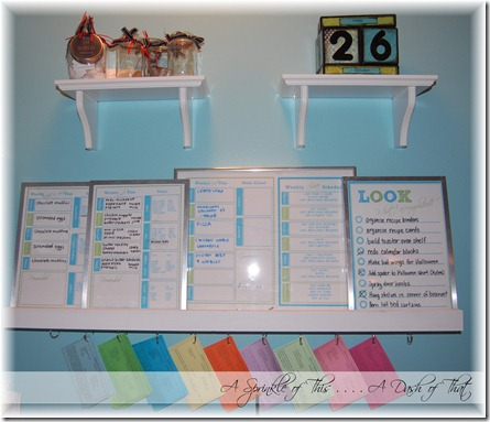 Message center above kitchen desk {A Sprinkle of This . . . . A Dash of That}
