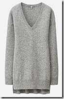 V neck cashmere tunic at Uniqlo