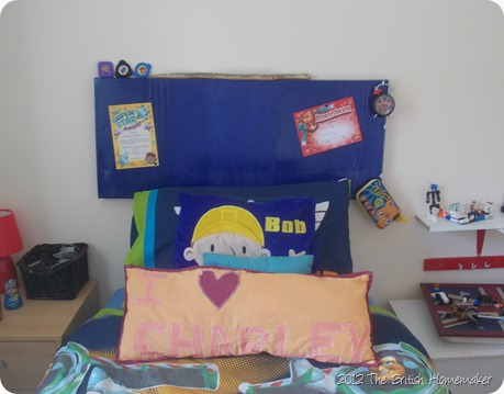 Blue headboard, noticeboard, canvas, spray paint