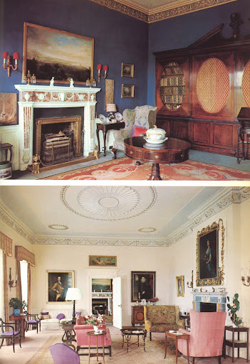 These two rooms are part of the Glin Castle, which was built in 1790 on land owned by the Knights of Glin.  These knights managed to keep this land for the last 700 years.