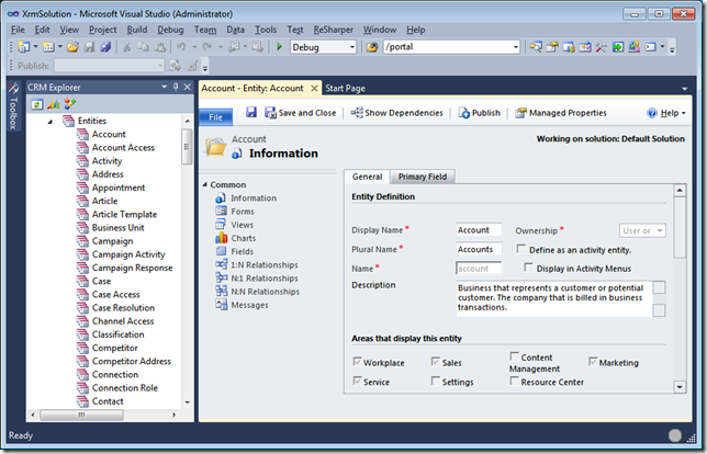 11 - Open CRM Customization Page in Visual Studio