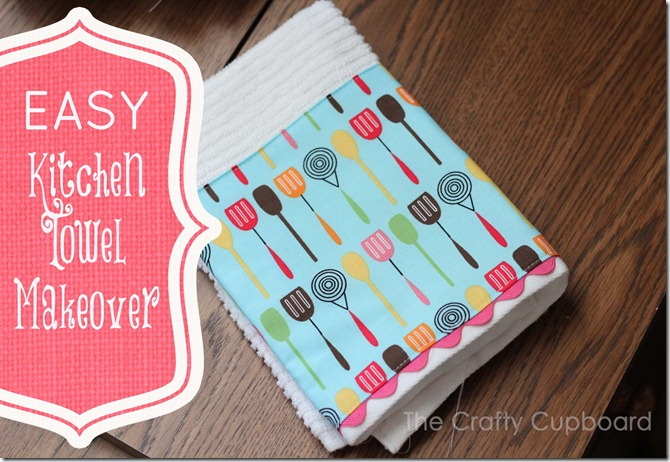 Kitchen Towel Makeover from the Crafty Cupboard