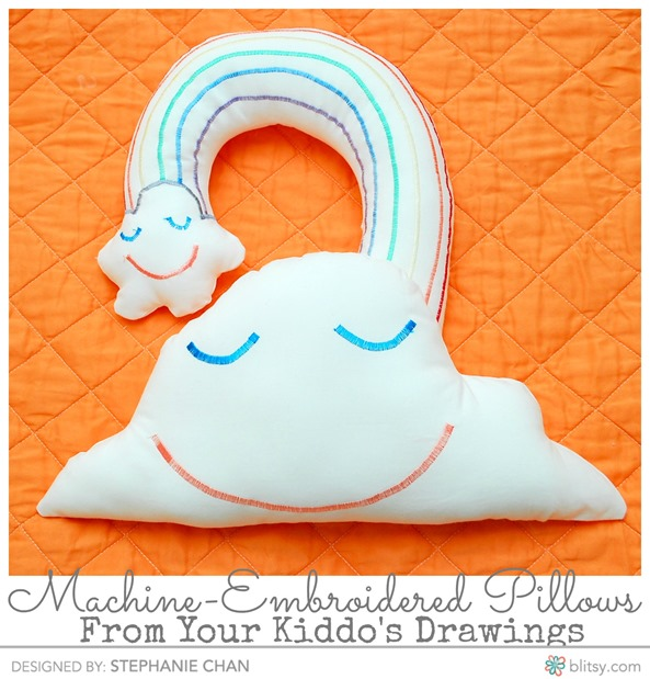 Machine Embroidered Pillows from Your Kids Drawings - The Silly Pearl on Blitsy