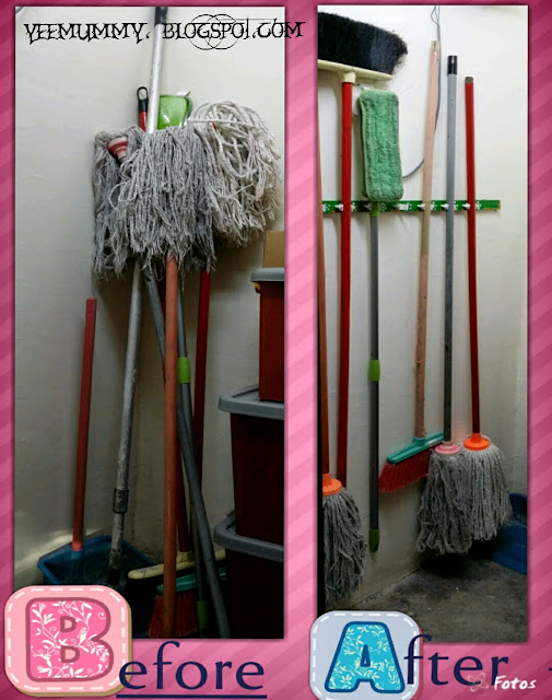 扫把地拖乱七八糟的堆在储藏室? DIY简单扫把,地拖挂钩