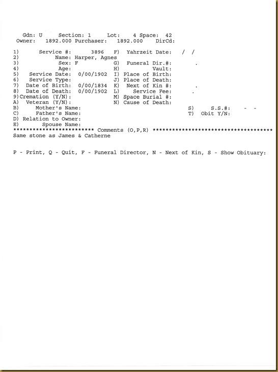 Agnes Harper Cemetery Record