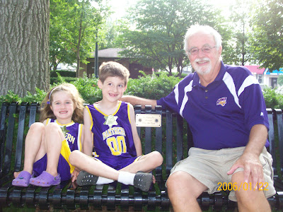 Pictured are Ted Drain with his grandchildren Natalie and Alex Greving.  Photo Courtesy of Susan Wellington, Washington Rotarian.