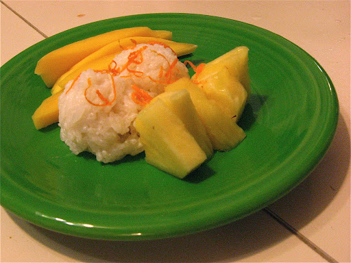 Our sweet ending: sticky rice with orange zest, mangoes, and pineapple. The sticky rice was soaked overnight, steamed, then soaked in coconut milk.