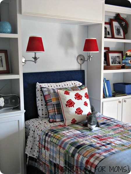 swing arm lamps above bed