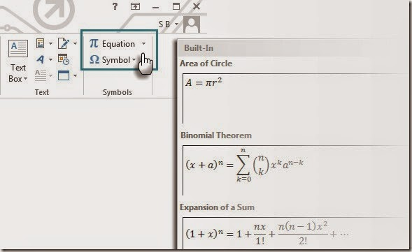 Microsoft Word Equations
