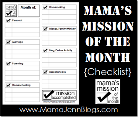 Mama's Mission of the Month Checklist