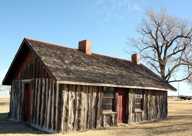 The teamsters cabin at Fort Supply is a rare example of picket-post construction.