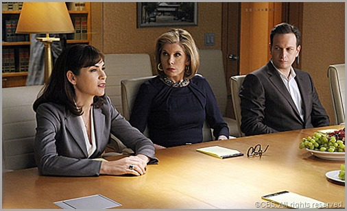 Christine Baranski looks shocked when what she though was a petrified object suddenly starts speaking. CLICK to visit THE GOOD WIFE online.