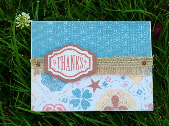 clementine thanks card casual expressions burlap ribbon artiste cricut cart