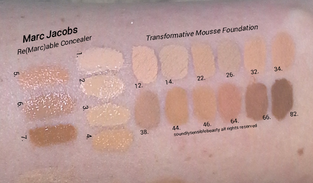 Marc Jacobs Marvelous Mousse Transformative Foundation Review & Swatches of Shades 12 Ivory, 14 Medium Ivory, 22 Light Bisque, 26 Medium Bisque, 32 Beige Light, 34 Beige Medium,  38 Beige Deep, 44 Golden Medium, 46 Golden Deep, 64 Fawn, 66 Fawn Deep, 82 Cacao, Marc Jacobs Re(Marc)able Full Coverage Concealer Swatches of Shades- 1. Awake, 2. Alive, 3. Young, 4. Glow, 5. Perfect, 6. Fresh, 7. Bright