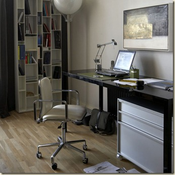 Cream office study MDF Italia black designer desk and storage shelving swivel chair laptop computer wood flooring floor lamp artwork  real home L etc 10/2007 Pub Orig