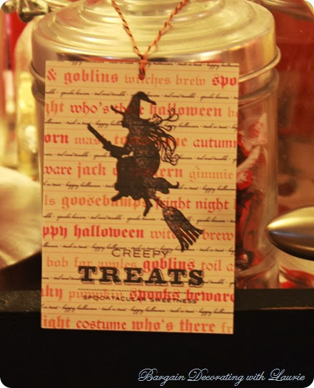 Halloween Witch Tag-Bargain Decorating with Laurie