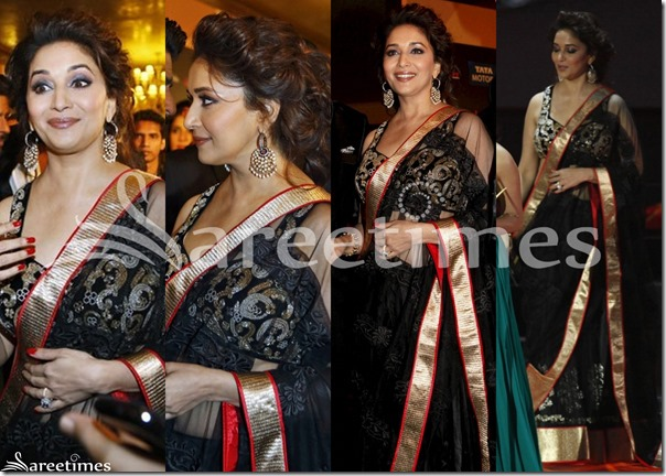 Madhuri_Dixit_Black_Saree_IIFA_Awards_2013