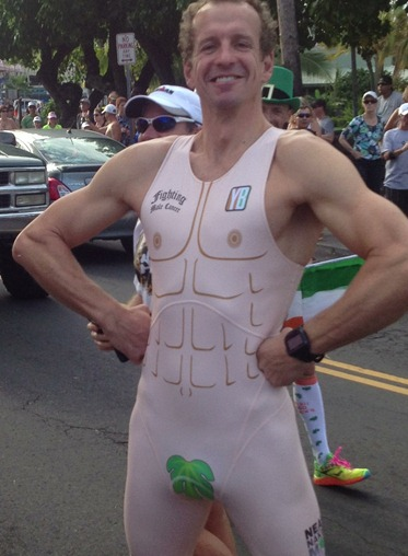 Naked Running Suit to promote men's cancer