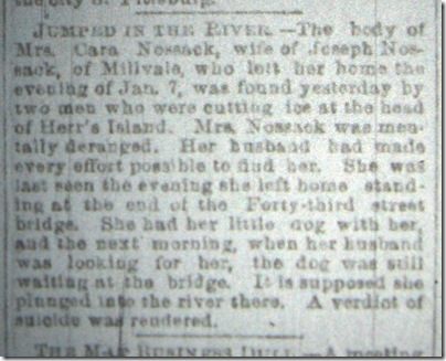 Clara Nosseck   Pgh Press 17 January 1889   Page 4