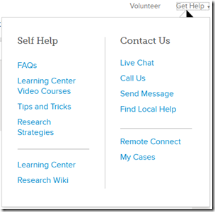 FamilySearch help system menu