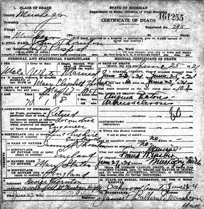 THORNTON_John_death cert _25 Jun 1921_Muskegon_Michigan