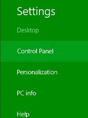 control panel in windows8