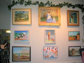 A sampling of Al Mandrachia's paintings, on display in Melrose, MA