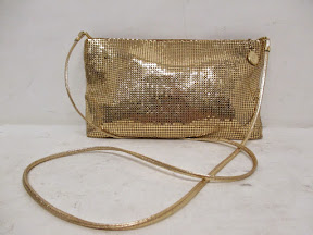 Whiting and Davis Gold Metallic Shoulder Bag