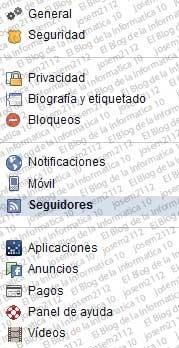 Seguir perfiles de Facebook - configuración cuenta fb (categorías)