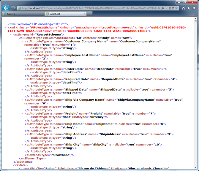 XML content produced in response to the URL specified in '*.iqy' file