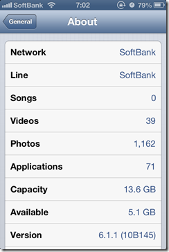 iOS 6.1.1 on iPhone 4S