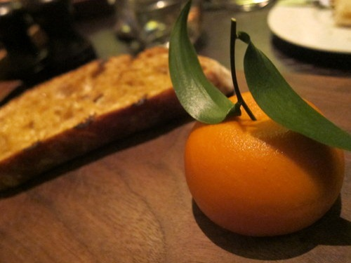 Meat Fruit (c.1500): Mandarin, chicken liver parfait & grilled bread