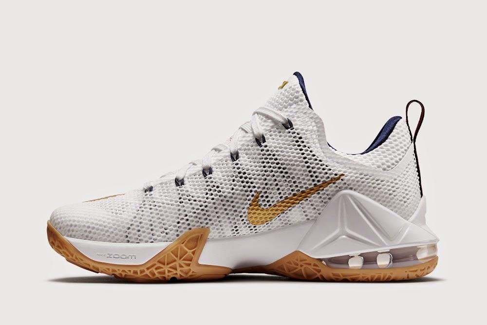 Nike LeBron 12 XII Low USA White Metallic Gold Navy Red