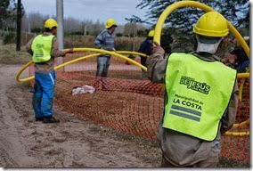 Informe de avance de la red de gas, cloaca y agua en el distrito