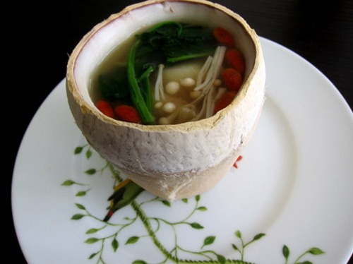 Dance of the Wind: Double-boiled Seafood Consommé in Young Coconut