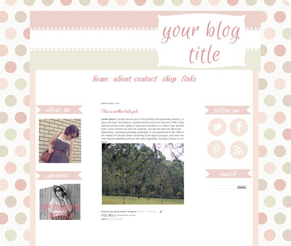 lots of dots blog template design for blogger