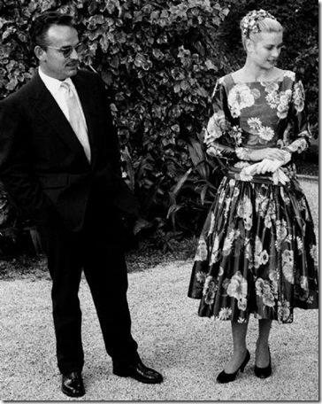 Grace Kelly Black Print Dress 1