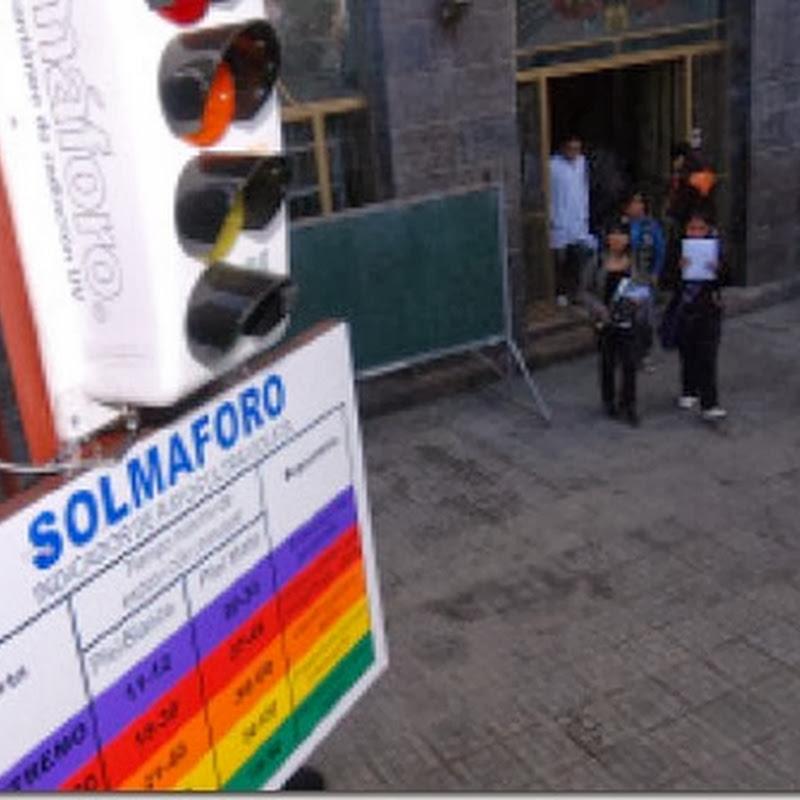 El solmáforo mide la radiación ultravioleta de la ciudad